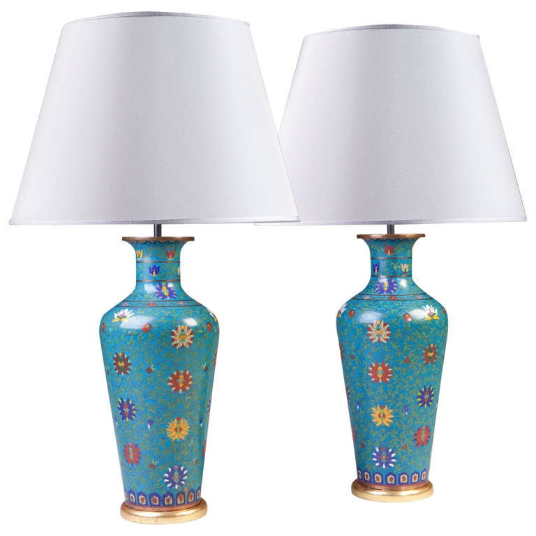 Large Pair Of Chinese Cloisonne Table Lamps For Sale