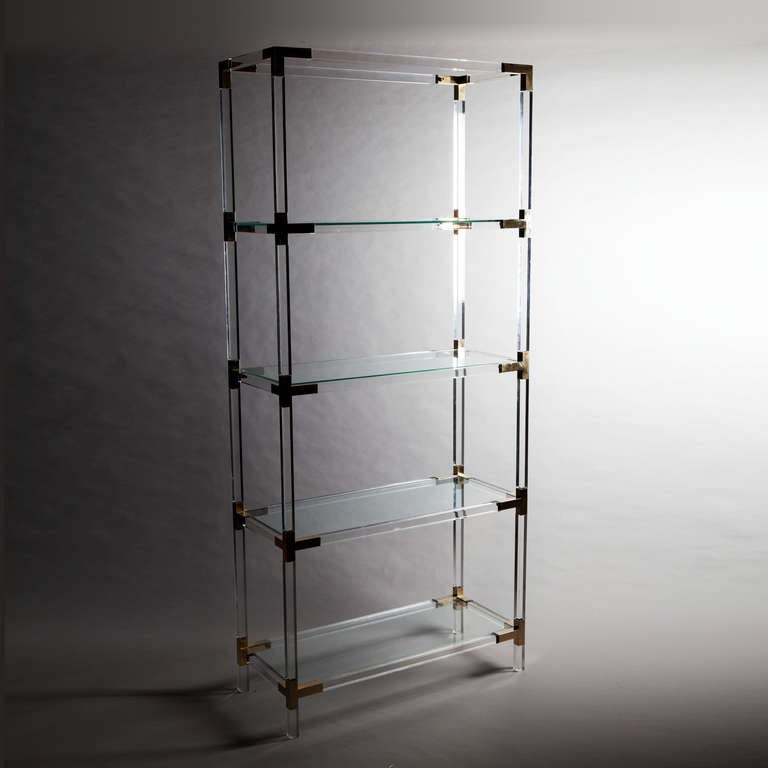 A Set of Brass Mounted Perspex Shelves 2