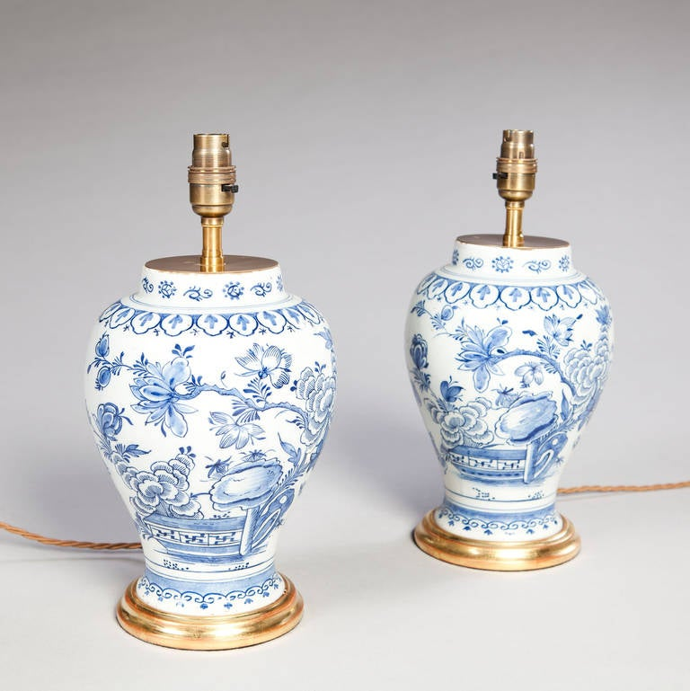 Pair Of 18th Century Delft Blue And White Vases As Table Lamps 3