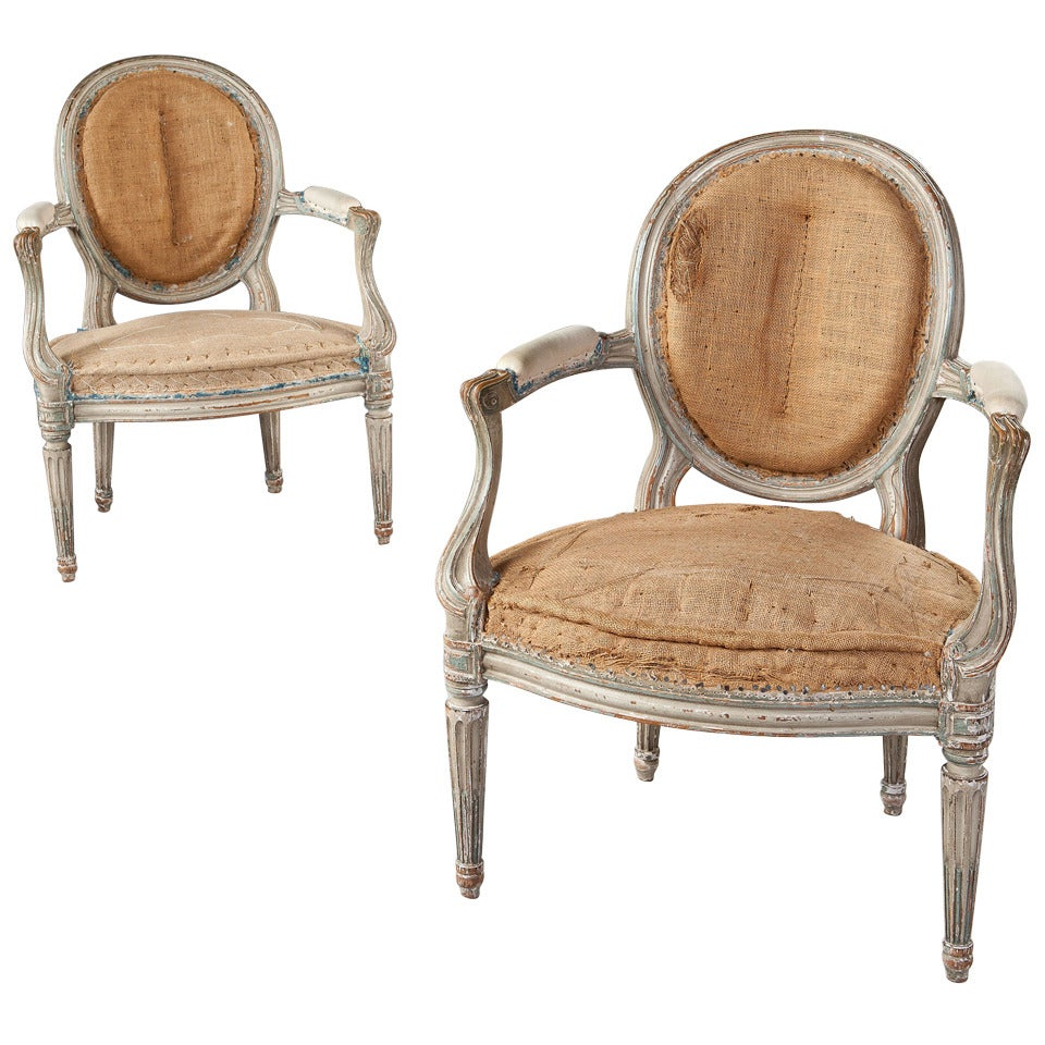 Fine Pair of French Neoclassical Fauteuil Armchairs