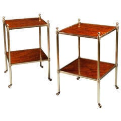 A Pair of Brass and Mahogany Two Tier Etageres End / Lamp Tables