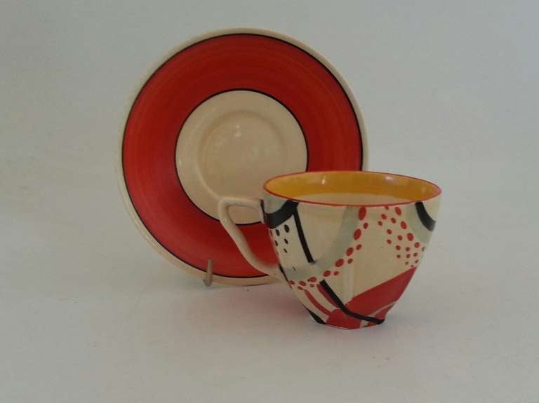 Rare Clarice Cliff Carpet Pattern Cup And Saucer At 1stdibs