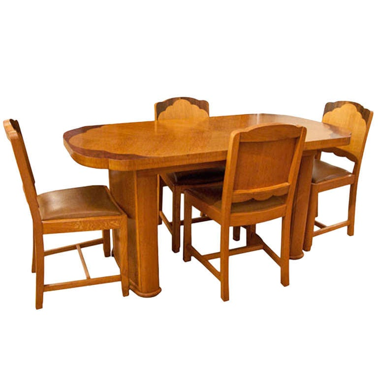 Art deco dining table and four chairs at 1stdibs - Art deco dining room table ...