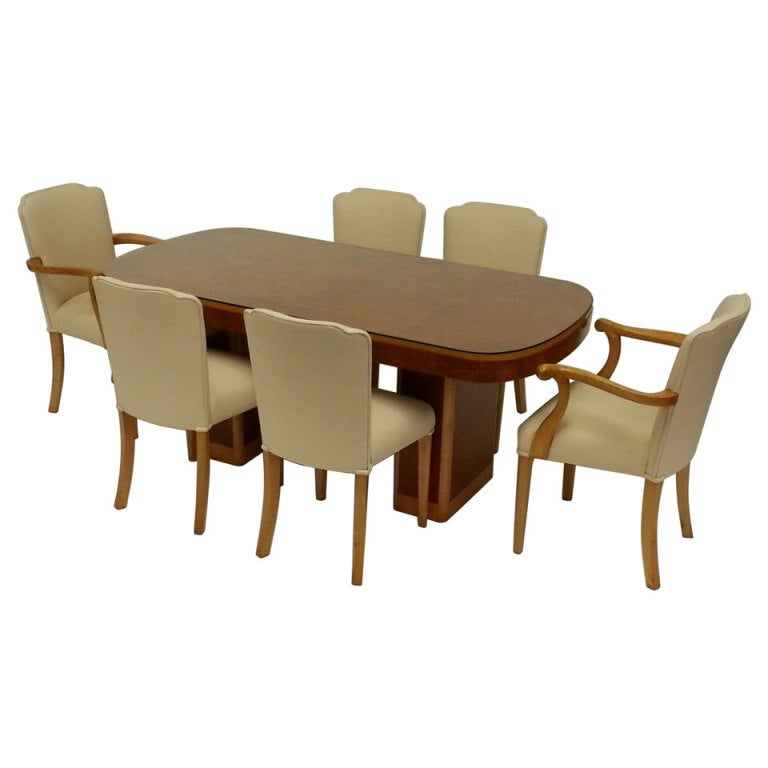 Epstein art deco dining table and six chairs for sale at for Dining table 6 chairs