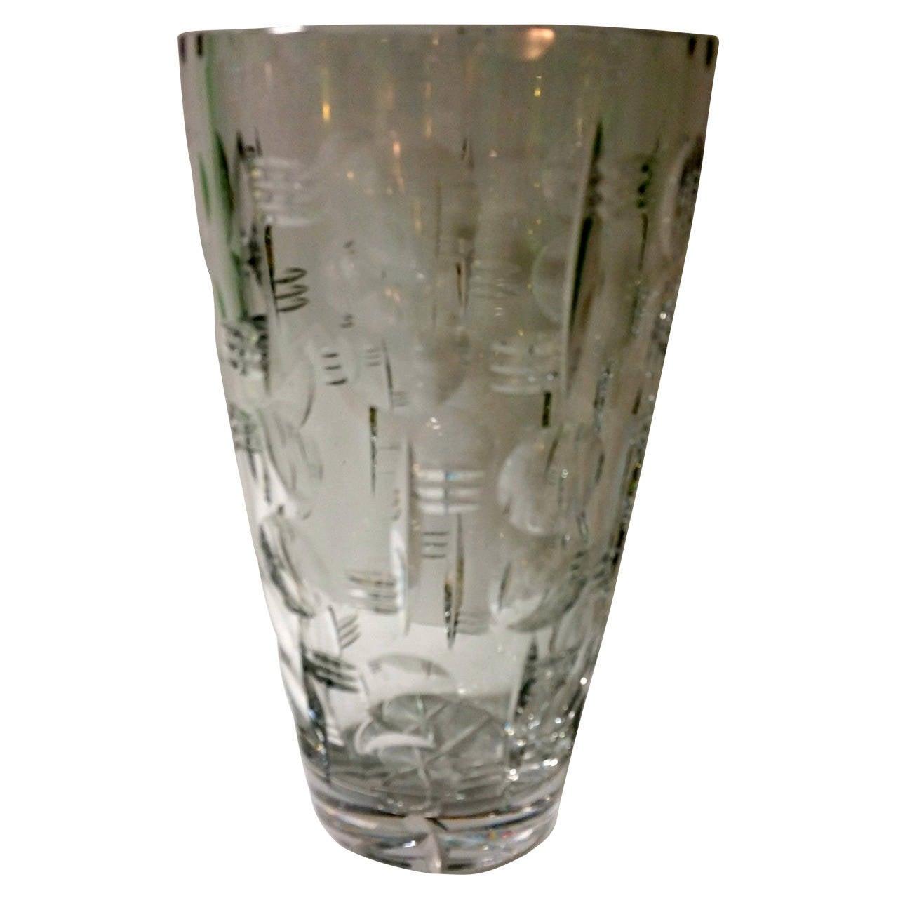 Webb Corbett Art Deco Crystal Vase For Sale