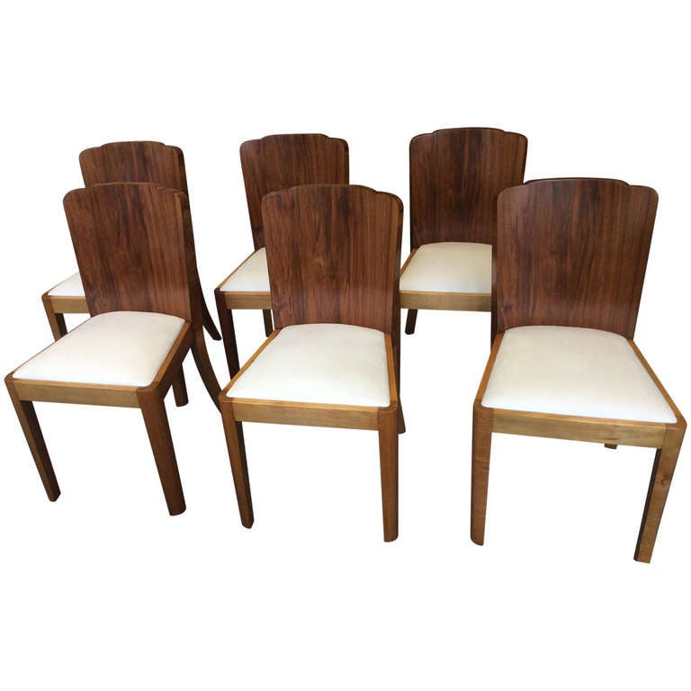 Six Art Deco Dining Chairs At 1stdibs