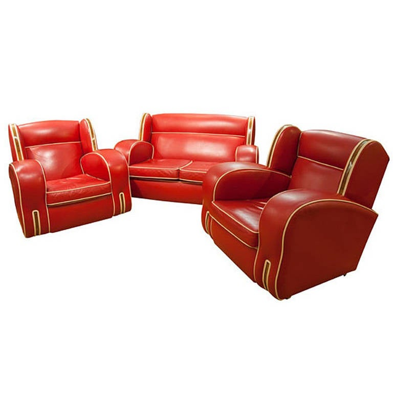 Art Deco Red Leather Lounge Suite 1