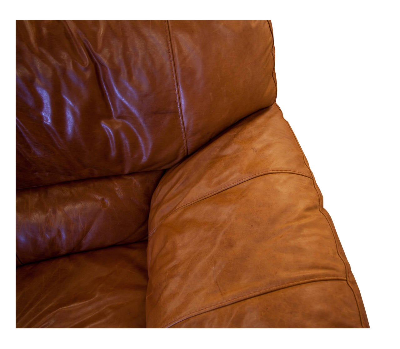 Mid Century Large Curved Tan Leather Sofa At 1stdibs