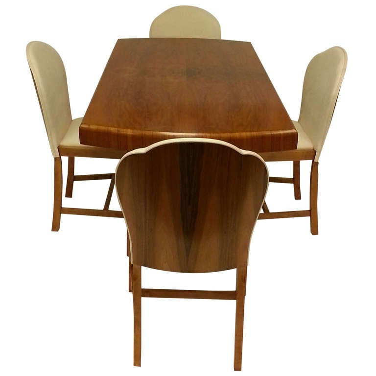 Art Deco Dining Table And Four Cloud Back Chairs At 1stdibs