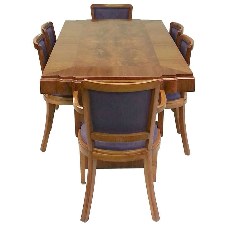 Art deco dining table and six chairs at 1stdibs - Art deco dining room table ...