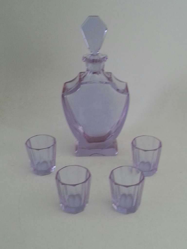 A Rare Art Deco Liquor set, Pale blue Uranium Glass turning to Mauve. 