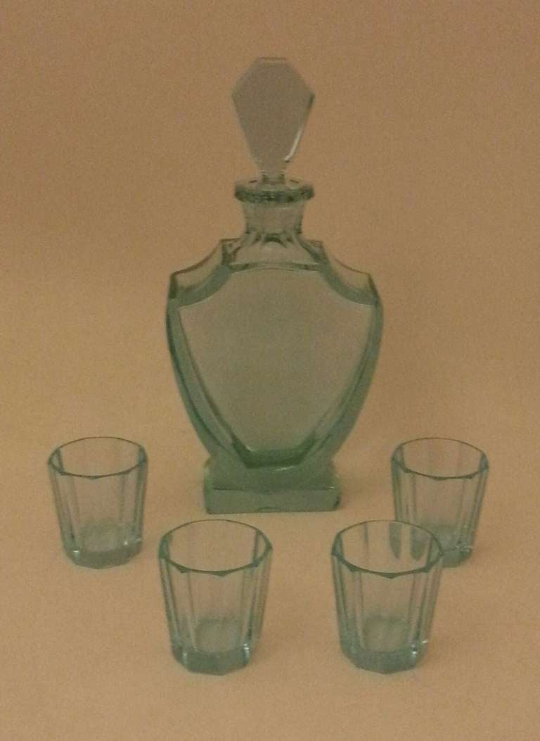 British A Rare Uranium Glass Art Deco Liquor Set For Sale