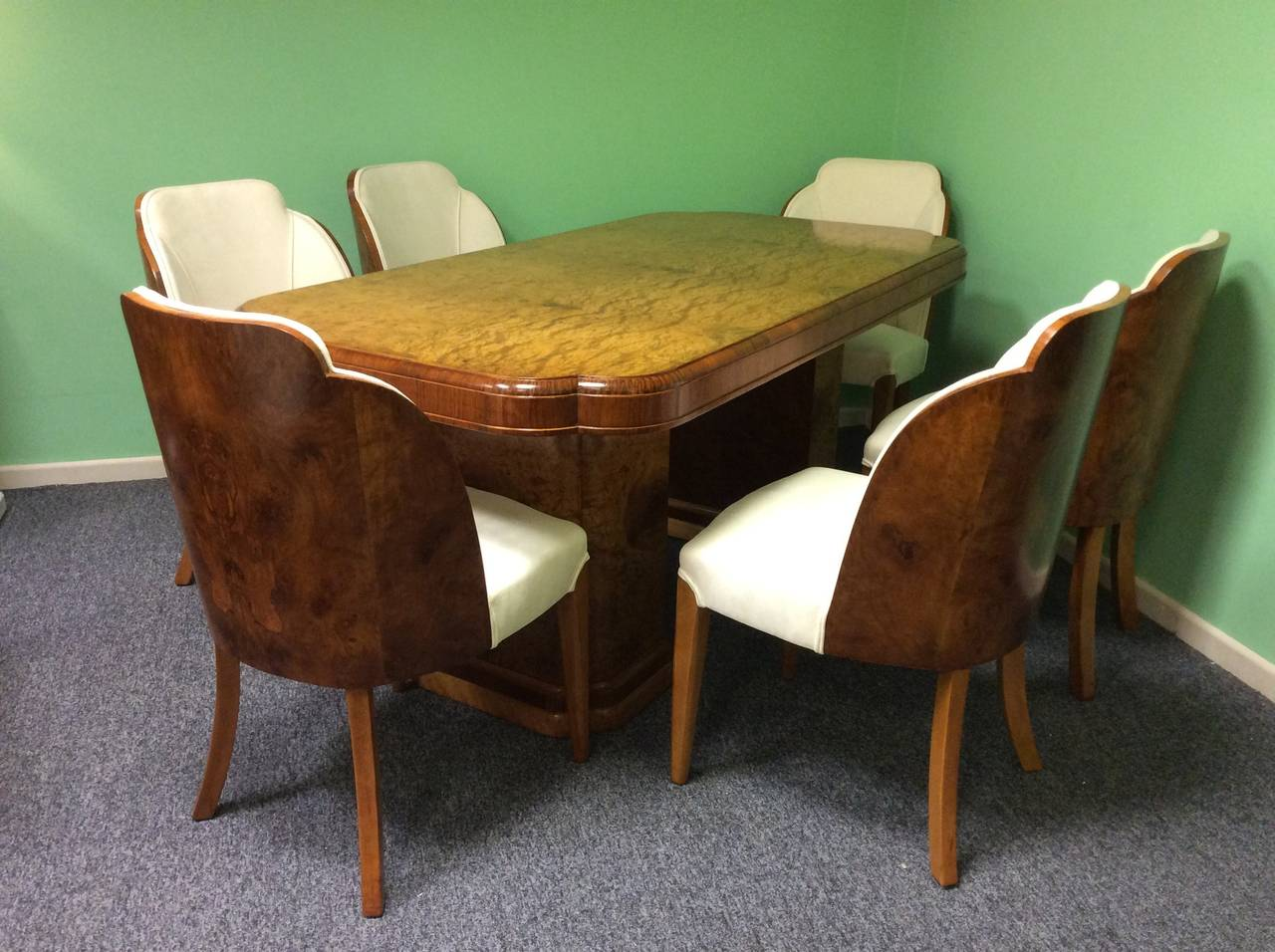Art deco dining table and six chairs by harry and lou epstein at 1stdibs - Epstein art deco furniture ...