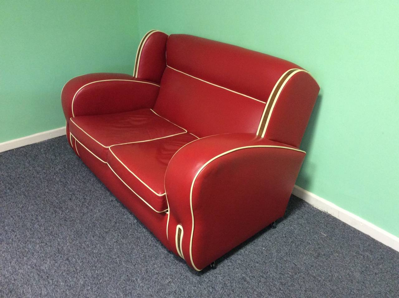 Art Deco Red Leather Sofa At 1stdibs