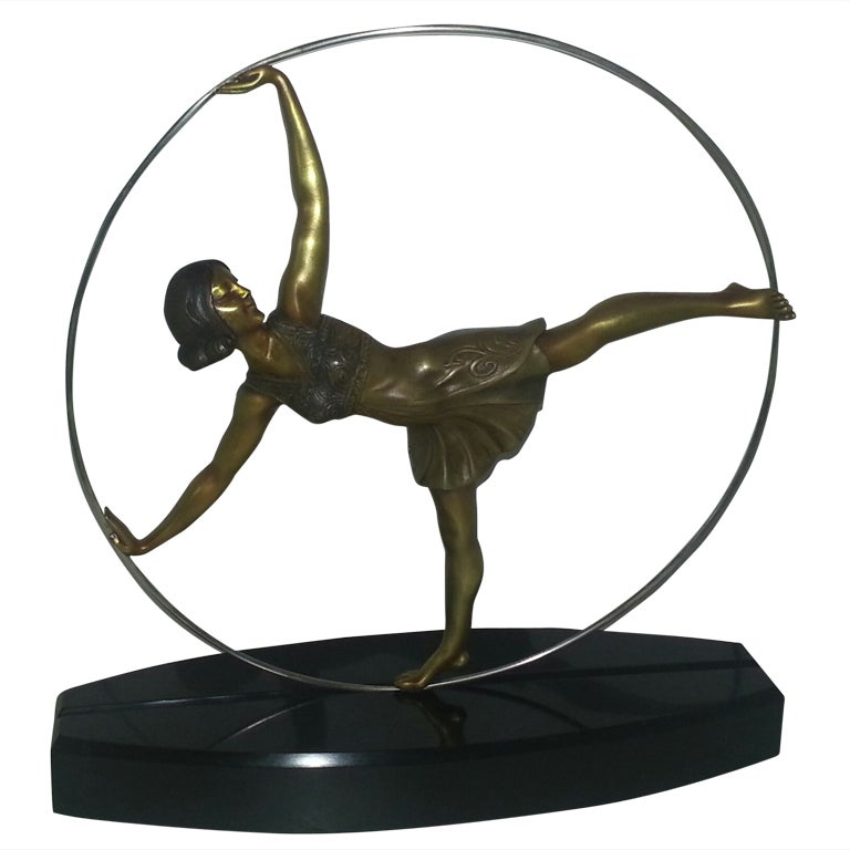 Art Deco Bronze Figure Of A Hoop Dancer 1