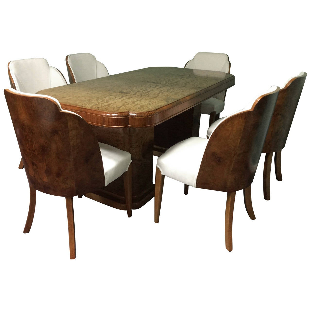 art deco dining table and six chairs by harry and lou epstein 1