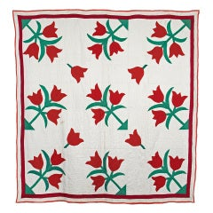 Quilt Tulip Applique in Red and Green -  ca 1930