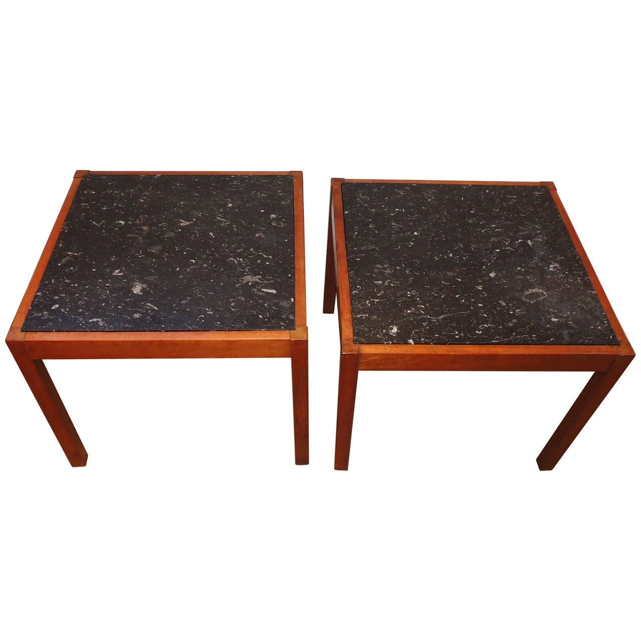 Pair of Teak and Belgian Black Limestone Side Tables