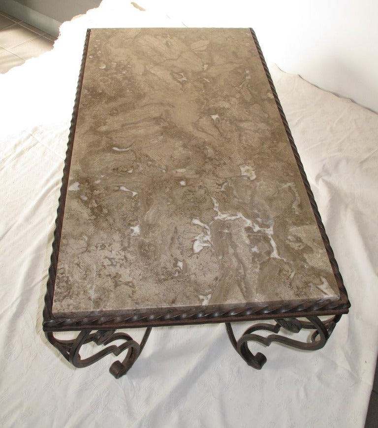 Mid-Century Modern French Iron Marble and Coffee Table For Sale
