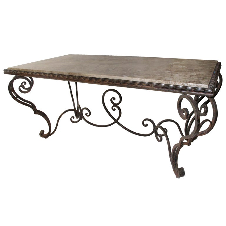 French Iron Marble And Coffee Table 1