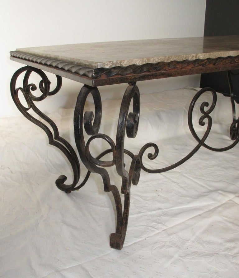 French Iron Marble and Coffee Table In Excellent Condition For Sale In Washington, DC