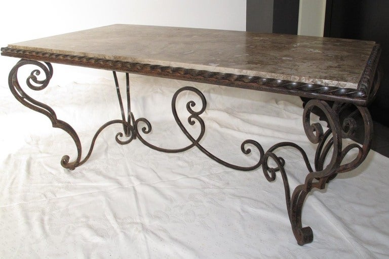 Mid-20th Century French Iron Marble and Coffee Table For Sale