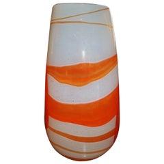 Art Glass Vase Orange Swirl