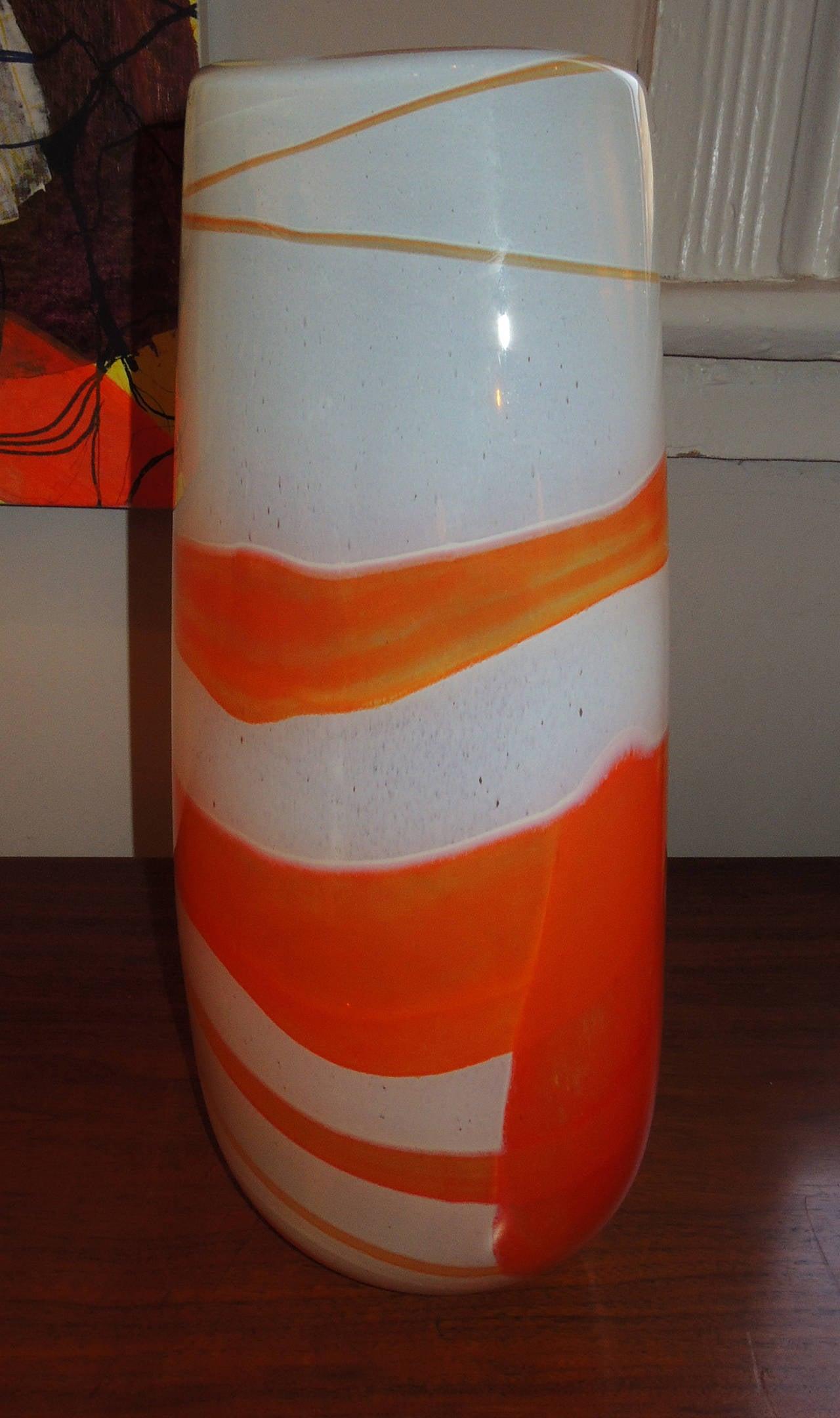 Art Glass Vase Orange Swirl For Sale At 1stdibs
