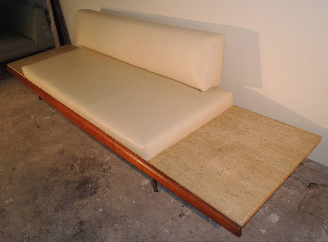 Rare Pearsall Sofa With Travertine Side Tables Built In