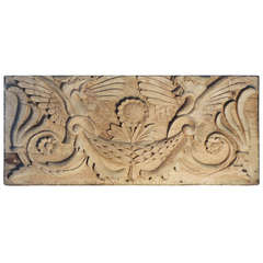 Carved Wooden Sculptural Panel featuring Griffins