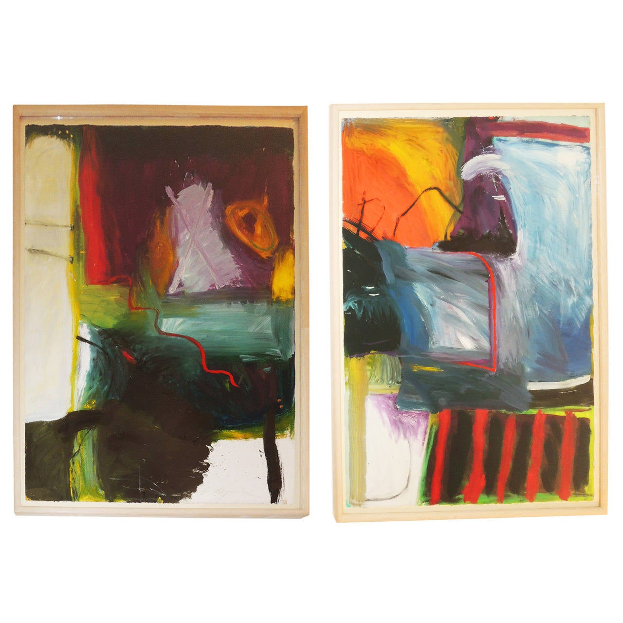 Pair of Abstract Landscapes by Jennifer Wynn For Sale