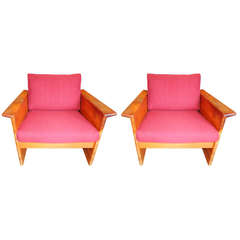 Pair of Danish Armchairs and Ottoman
