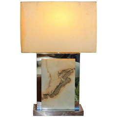 Jere Chrome and Marble Table Lamp