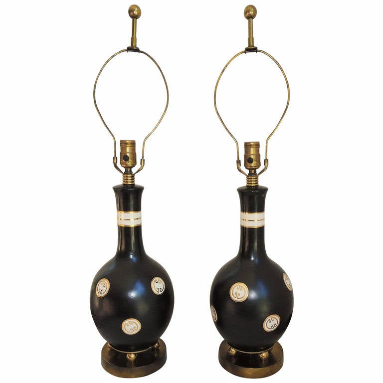 James Mont Style Pair of Table Lamps