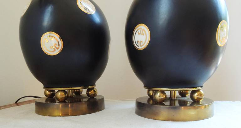 American James Mont Style Pair of Table Lamps For Sale