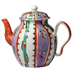 "Antique English Creamware ""Chintz"" Patterned Teapot, circa 1775"