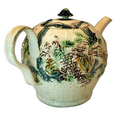 Antique Creamware Pottery Teapot by Greatbach Staffordshire, circa 1765