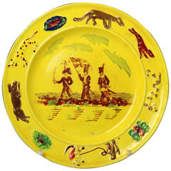 "Pottery Child Plate In Canary Yellow Showing Children ""Playing at Cae Troia"""