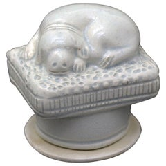 Staffordshire Pearlware Pottery Snuff Box with the Figure of a Dog in Repose