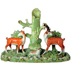 Staffordshire Pottery Pearlware Trio Figure Group with Lamb, Stag and Doe