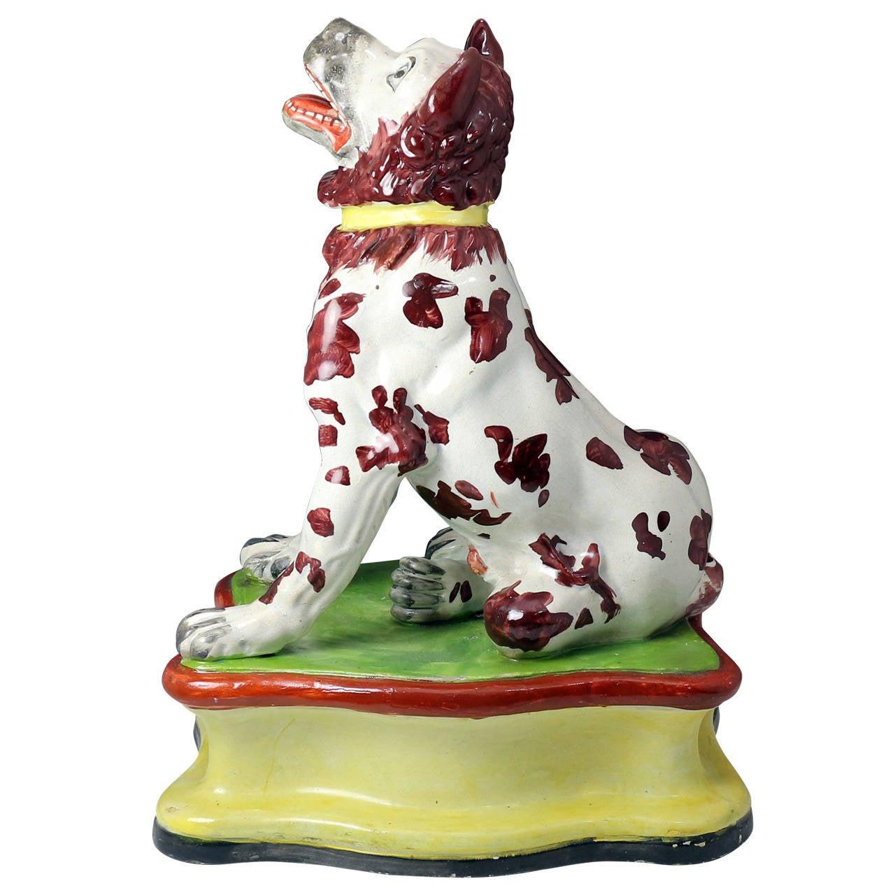 "Staffordshire pottery hound on base massive scale ""Jennings Dog"""