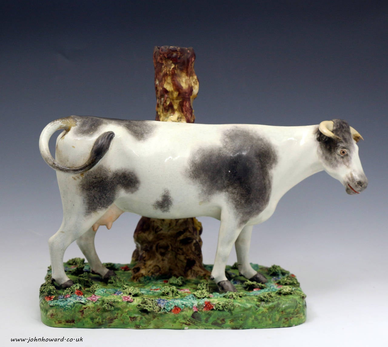 Massive Staffordshire Pearlware Pottery Figure of a Standing Cow on Colored Base 2