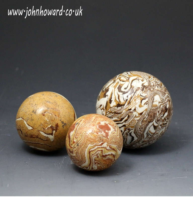 Antique English Pottery Agateware Variagated Clay Balls
