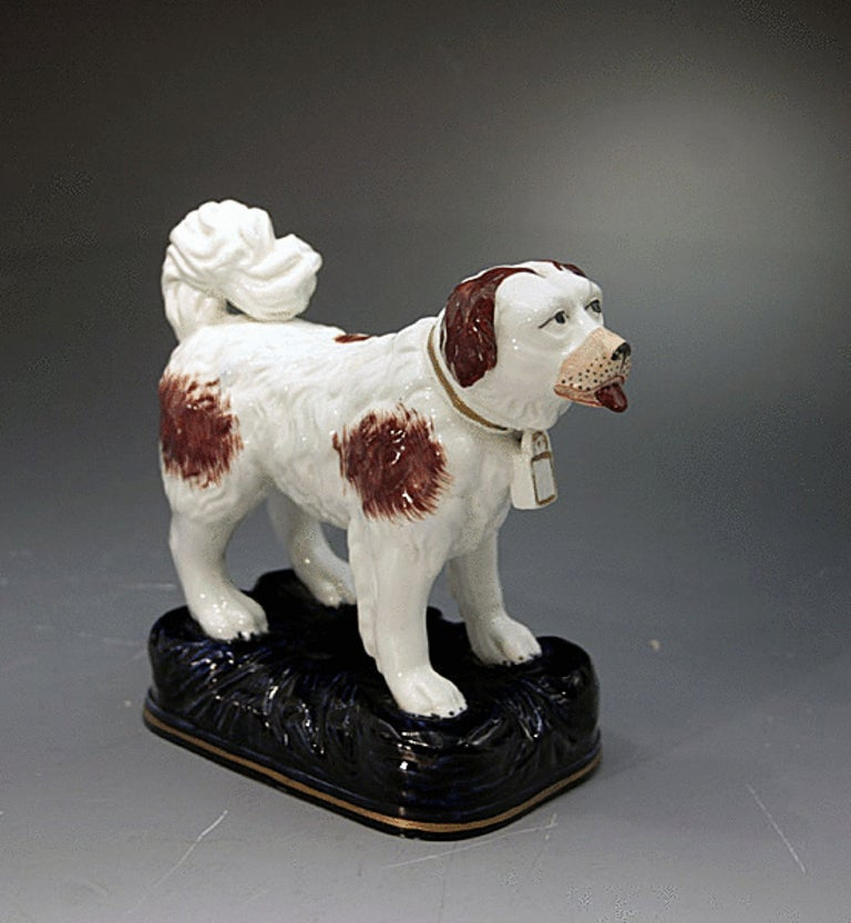 Antique Staffordshire Pottery Figure Of A St Bernard Dog
