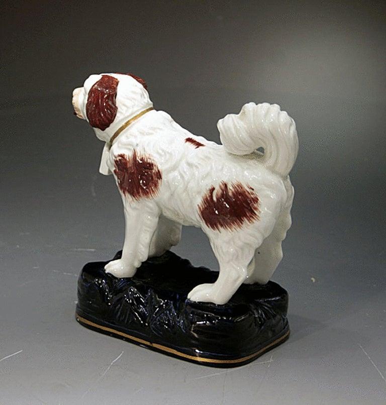 Antique Staffordshire Pottery Figure Of A St Bernard Dog