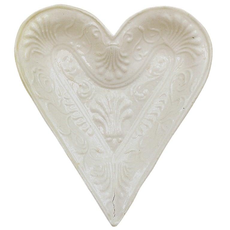 Staffordshire Pottyer Stoneware Heart Shaped Dish In