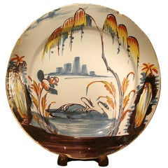 Antique English Pottery Delftware Dish With Swans on Lake C1750