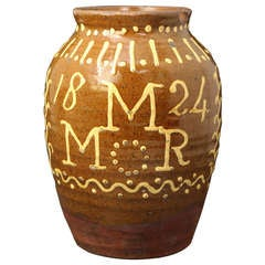 English Earthenware Slipware Jar Initialled and Dated MMR 1824