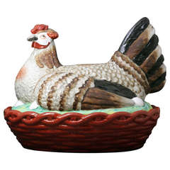 Massive Exhibition Piece, Staffordshire Pottery Hen on Nest, circa 1875