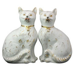 Pair of Scottish Pottery Figures of Seated Cats with Gold Collars, circa 1880